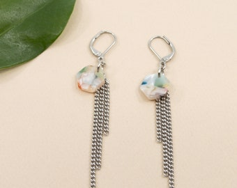 Pastel multicolored acetate earring, hexagon pendant chain tassel, stainless steel cable earrings, pastel resin earrings