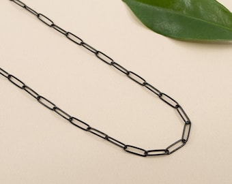 Black stainless steel paperclip chain, black layering necklace 14 inch to 24 inch, black rectangle link 3.5x11.5mm, black chain for women