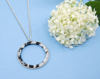 Black & white acrylic hoop necklace, big silver hoop necklace, stainless steel necklace for women, chain 16 to 36 in