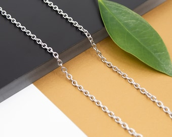 Oval cable stainless steel chain necklace, links 3.1mm x 3.6mm, unisex finished necklace chain 14 inch to 36 inch