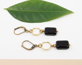Black and gold hexagon drop earrings, brass geometric earrings, black dangle earrings, antique brass earwire, gold and black earrings