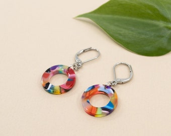 Multicolored terrazzo circle earrings, lightweight dangle acetate earrings, resin jewelry for women