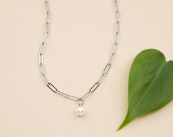 Fresh water pearl pendant and silver stainless steel paperclip chain, 3x9mm rectangle link chain, necklace length from 14  to 24 in
