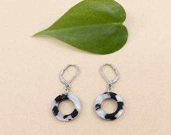 Black & white terrazzo earrings, lightweight dangle acetate earrings, black white modern jewelry for women, steel ear wires