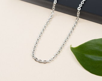 Flat oval cable stainless steel chain, links 3mm x 3.6mm, finished necklace chain 14 inch to 36 inch, unisex steel chain necklace