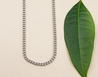 3mm stainless steel curb chain, finished necklace chain 14 to 36 inches, unisex steel chains tarnish resistant