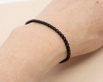 Black rolo box chain bracelet, 3mm stainless steel chain links, size 6 in to 9 in, unisex black bracelet, layering bracelet for her