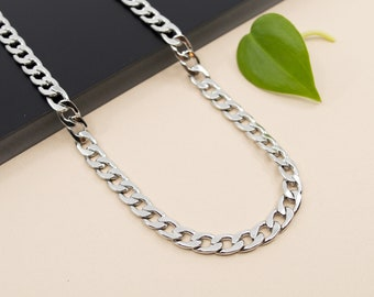 7mm curb stainless steel chain necklace, chain 14 inch to 36 inch, men's chain Cuban flat links, thick choker chain for women