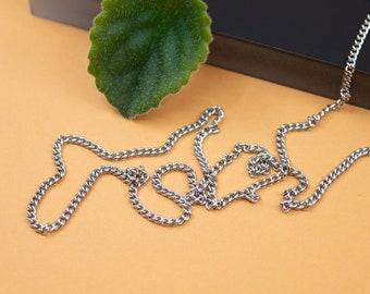 Delicate stainless steel curb chain, 2.25mm link, silver finished necklace chain 14 to 36 in, tarnish resistant unisex steel chain