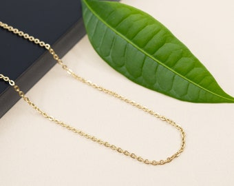 2mm flat cable gold stainless steel chain necklace, soldered flat link chain for women, tarnish resistant gold chain