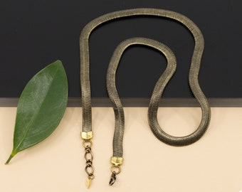 Bronze flat snake chain necklace, 6mm gold thick herringbone chain, layering necklace for women made in Canada
