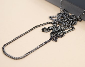 Black nickel curb chain 2.25mm, dark grey plain chain for pendant, finished chain necklace for men and women, 14 to 36 inches