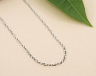Dainty 1.6mm oval cable stainless steel chain, finished necklace chain 14 to 36 in, delicate silver chain for women