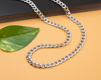 5.3mm curb stainless steel chain necklace, chain 14 inch to 36 inch, men's chain Cuban flat links, choker curb steel chain for her