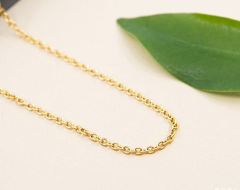 2mm oval gold stainless steel cable chain necklace, soldered oval link gold chain for women, tarnish resistant chain