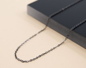 1.5mm dainty gunmetal cable chain, dark grey plain chain for pendant, 14 to 36 inches, finished chain necklace for women