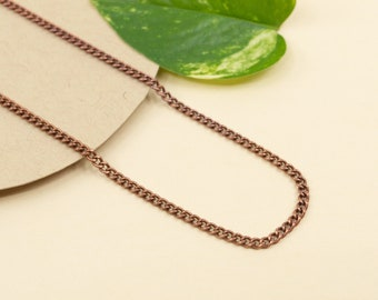 2.5mm antique copper chain necklace, unisex curb chain for pendant, copper finished chain necklace, copper choker chain, 14 to 36 in