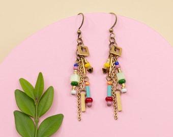 Multicolor dangle earrings, long colourful beads earrings, summer jewelry for women, gold tassel chain earrings