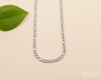 3mm delicate figaro stainless steel chain necklace, chain 14 inch to 36 inch, flat link 3mm, unisex chain figaro links, custom length