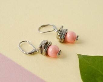 Pink coral swarovski pearl earrings, pink wedding earrings, bridal beaded dangle earring, bridesmaid gift ideas