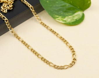 3mm gold figaro stainless steel chain necklace, unisex gold necklace chain figaro flat links, hypo allergenic jewelry