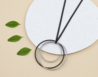 Triple hoop necklace, black stainless steel circle necklace, big black hoop pendant for women, removable pendant and black chain