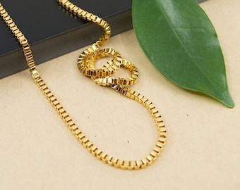 Gold stainless steel 2.4 mm box chain, unisex gold necklace, steel gold jewelry for women, gold mens box chain, 14k plated jewelry
