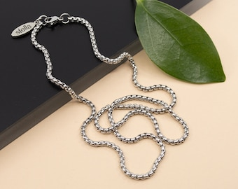 2.5 mm rolo box stainless steel chain, 14 to 36 in chain necklace,  unisex round box chain, silver rolo chain for women