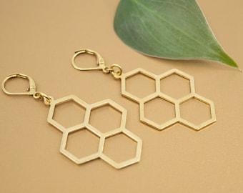 Gold honeycomb dangle earrings, brass hexagon earrings, gold bohemian jewelry for women