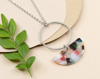 Multicolored big acrylic hoop necklace, colourful steel hoop necklace, stainless steel pendant for women, chain 16 to 36 in