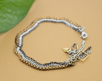 Chain links bracelet, 4 row gold black and silver bracelet, size 6 to 9 in. layering bracelet for women