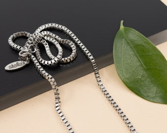 2.5mm box chain necklace, stainless steel finished chain, 14 in to 36 in, unisex silver chain necklace, anti tarnish jewelry