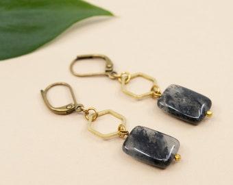 Black pyrite and gold hexagon drop earrings, brass geometric earrings, black dangle earrings, antique brass earwire, gold and black earrings
