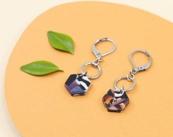 Dark acetate dangle earrings, terrazzo hexagon earrings, stainless steel hoop drop earring, modern jewelry for women