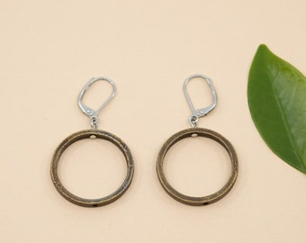 Antique brass hoop earrings, 24mm round shape pewter, hypoallergenic stainless steel ear wires, big loop earrings, silver gift for women