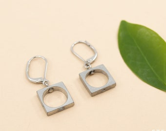 Small square earrings, 11 mm pewter squares, modern silver squares dangles earrings, hypoallergenic stainless steel ear wires