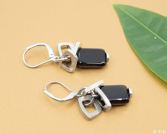 Black rectangle earrings, stacked silver charms, black bead dangle earrings, hypoallergenic lever back earwires, daughter gift, friend gift
