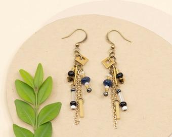 Gold dangle earrings, boho black and white earrings, gold jewelry for women, beads and chain tassel earrings
