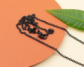 1.9mm dainty black stainless steel cable chain, black plain chain for pendant, black finished chain necklace for women, 14 to 36 inches