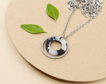 Small silver hoop and acetate pendant, black & white necklace, stainless steel chain pendant 14 in to 36 in made in Canada