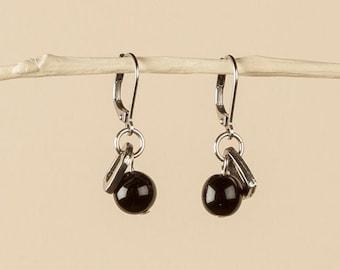 black and silver dangle earrings, black czech beads, pewter rectangles, stainless steel ear wires, lightweight black earrings, friend gift