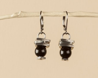 Black stack earrings, black glass round beads, pewter rectangles, hypoallergenic stainless ear wire, black gift for her, 8mm round bead