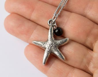 Starfish pendant necklace, thick pewter star, 6mm bead, stainless steel chain, select your length, silver starfish charm jewelry, gift idea
