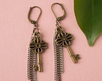 Victorian key earrings, antique brass key dangle, stainless steel chains, skeleton key jewelry,  antique look vintage key jewelry