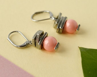 Peach swarovski pearl earrings, wedding earrings, swarovski nude beads, bridal beaded dangle earring, stainless steel, bridesmaid gift ideas