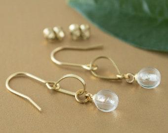 Brass teardrop earrings, raw brass earrings, dangle gold earrings 6mm bead, dainty brass earwire, raw brass jewelry, bridesmaid gold earring