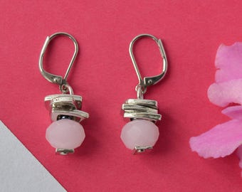 Pale pink earrings, faceted czech glass beads, bridal beaded dangle earrings, stainless steel earwires, pastel pink bridal gift ideas,