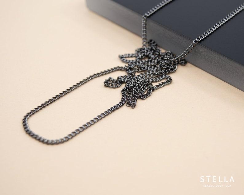 Black nickel curb chain 2.25mm dark grey plain chain for image 0