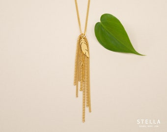 Gold feather and chain tassel necklace, gold plated stainless steel,  gold steel chain necklace, gold fringe pendant necklace for women