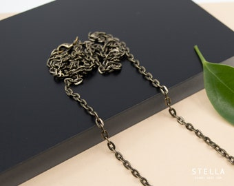 Antique bronze cable chain necklace, custom length 14 inch to 36 inch,  unisex finished chain necklace, 3mm flat link bronze chain